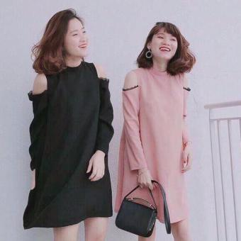 Đầm suông khoét vai phối ren (Màu Đen)
