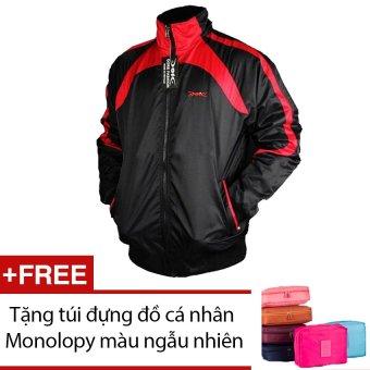 Áo khoác thể thao Dori D002 (Đen phối đỏ) + Tặng túi đựng đồ cá nhân Monolopy màu ngẫu nhiên