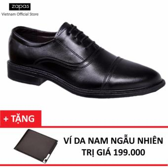Giày Tây Nam Da Cột Dây Zapas GT025 (Đen) + Tặng Ví Nam