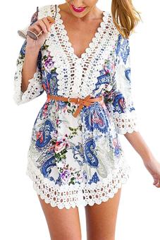 YOINS Summer Women Boho Sexy V-neck Hollow Lace Dress Fashion Printed Three Quarter Mini Dress Vestidos Femininos - intl