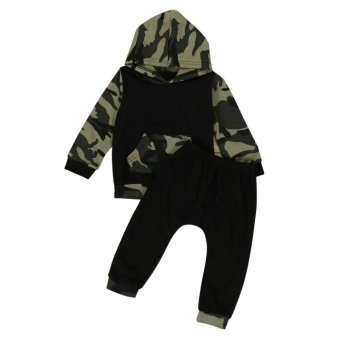 Camouflage Baby Boys Toddler Hooded Tops +Long Pants Set Clothes - intl