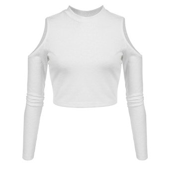 Cyber Finejo Women Casual Sexy Long Off Shoulder Sleeve Slim T-Shirt (White) - Intl