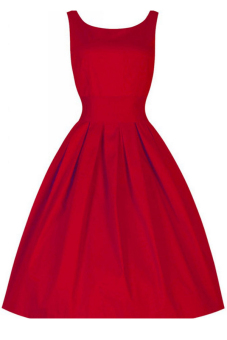 Women's Vintage Retro Elegant Sleeveless A Line Slim Fit Ball Gown Dress Red M - Intl