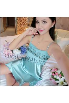 Đầm Ngủ Vải Lụa Ren Ngực Cdanp01 (Xanh Ngọc)
