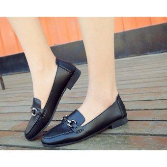 Giày lười nữ khóa ngang thời trang Đen
