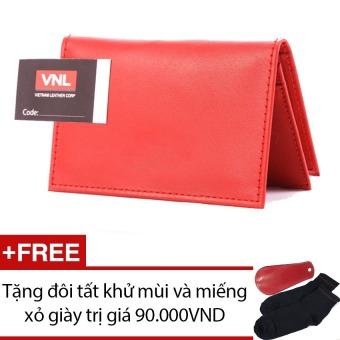 Ví đựng card visit da thật cao cấp đỏ VNLL0AZA6QD (Đỏ) + Tặng 1 đôi vớ và 1 miếng xỏ giày