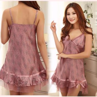 Đầm ngủ hai dây viền nơ tím quyến rũ tươi xinh cho bạn gái-125