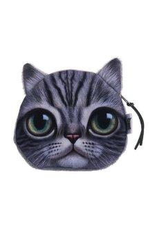 HKS Children Cute Cat Face Zipper Case Coin Money Kids Purse Wallet Makeup Bag Pouch Big Eyes - intl