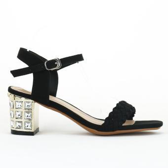 Sandal Nỉ Tết Đá 6cm Màu đen