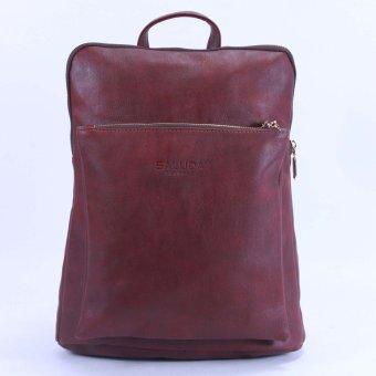 Balo nữ túi hộp nổi có dây kéo Saluda (Đỏ mận)