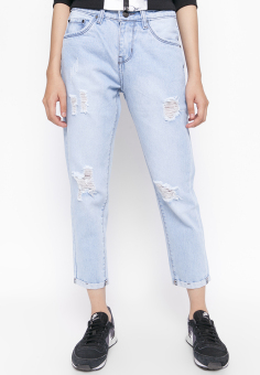 Quần Jeans Boyfriend 9 Tấc Rách Cung Cấp Bởi AAA Jeans (Xanh nhạt)