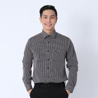 Áo sơ mi công sở tay dài Slimfit Việt Tiến 8F0373NT4/L3V (Đen sọc trắng)