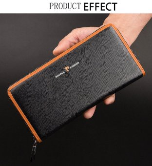 Cross Pattern Letter Horizontal Zipper Long Clutch Wallet(Black) - intl