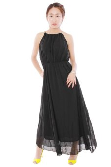 LALANG Sleeveless Sexy Long Pleated Dress (Black) - Intl