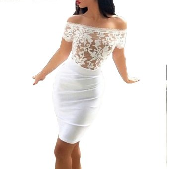Gamiss Fashion Sexy Dress Slash Lace-Stitching Hip Package Woman (White) (Intl) - intl