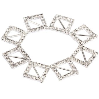 HKS 50Pcs 15*15mm Silver Square Crystal Rhinestone Buckle Sash Ribbon Slider - intl
