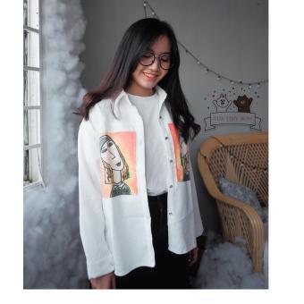 Áo sơ mi nữ tay dài cổ đứng họa tiết sọc gân thời trang trẻ trung Hàn Quốc Urban Horizon NB0005 (Trắng)