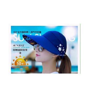 Mũ(nón ) chống nắng đính hoa-xanh lam