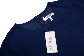 Linemart Women Casual 3/4 Sleeve Double Layer Chiffon Solid Loose Blouse Tops ( Navy Blue ) - intl