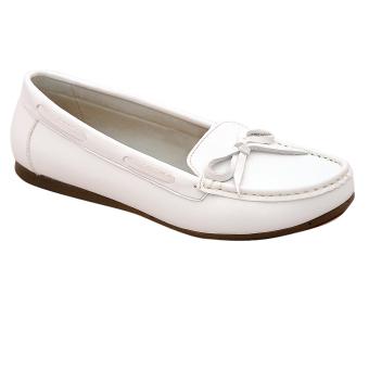 Giày nữ thấp da bò thật cao cấp Trắng ESW05