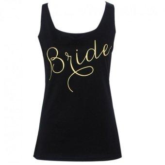 Women Printed Sleeveless Blouse T-Shirt(Black) - intl