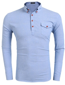 Cyber Men Regular Fit Classic Long Sleeve Pullover Casual Shirts ( Light Blue ) - intl