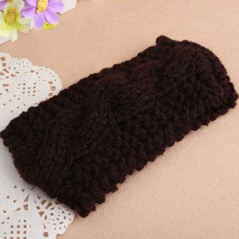Women Crochet Turban Ear Warmer Hair Band Knit Knitted Hairwrap Coffee