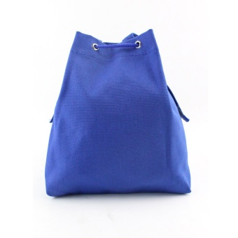 Women Fashion Canvas Drawstring Handbag Shoulder Bag Large Tote Ladies Purse Blue - intl