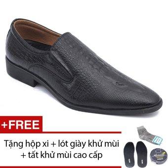 Giày lười công sở dập vân cá sấu SMARTMEN (Đen) GL-186 + Tặng 1 hộp xi + 1 lót giày khử mùi + 1 đôi tất khử mùi
