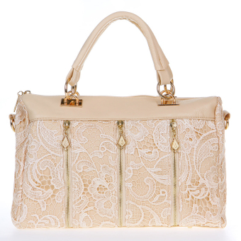 Fashion Women's Lady Retro Lace Handbag PU (Faux) Leather ToteCrossbody Shoulder Bag Beige - intl