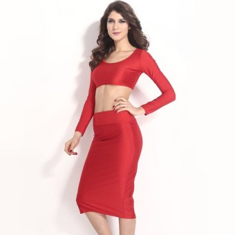 Sexy Women Two Pieces Long Sleeve Bodycon Crop Top Pencil Skirt Dress Twin Set Party Clubwear Red - Intl