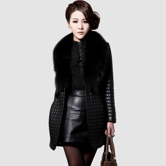 Women's Faux Leather Black Coat (Intl)