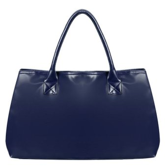 Cyber Faux Leather Women Handbag Ladies Shoulder Top-Handle Bags (Navy Blue)