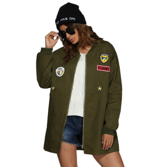 Women Stand-Up Collar Badge Patch Coat (Army Green) - intl