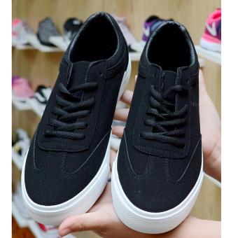 Giày sneaker nam nữ (giày công sở), da lộn đế êm (đen).