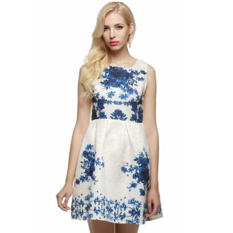 Cyber ACEVOG Women Sleeveless Flower Mini Party Evening Cocktail Garden Bubble Dress (Blue) - Intl