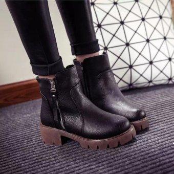 Giày bốt nữ đế thô cao 5cm màu đen GBN23