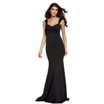 Zaful Woman Spandex Fish Tail Bodycon Long Dress (Black) - intl