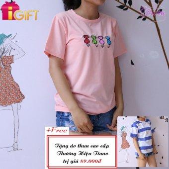 Áo Thun Nữ Tay Ngắn In Hình Bốn Con Mèo Phong Cách Tiano Fashion LV010 ( Màu Hồng Phấn ) + Tặng Áo Thun Nữ Tay Ngắn In Hình Gấu Ăn Chuối