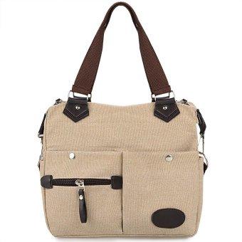Linemart Women Canvas Many Pockets Multi-functional Shoulder Bag Handbag Cross Body Messenger Bag ( Beige ) - intl