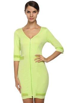 Cyber Finejo OL Style Women Hollow Out Splicing Half Sleeve V Neck Zipper Sexy Bodycon Solid Mini Dress ( Green ) - Intl