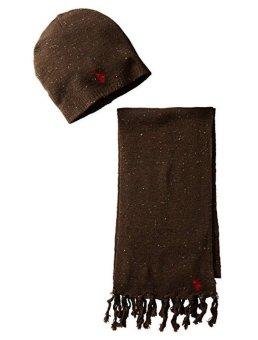 Bộ khăn choàng & mũ len nâu nam U.S. Polo Assn. Men's Donegal Hat and Scarf Set (Mỹ)
