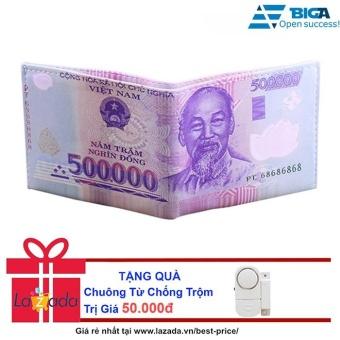 Ví Da Loại 1 Hình Dáng Tờ Tiền 500000 Đồng USA2626 + Tặng Chuông Từ Chống Trộm