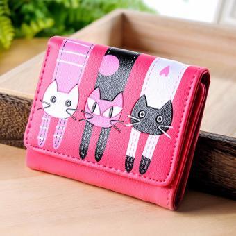 Ví bóp ngắn 3 con mèo (Đỏ Hồng)
