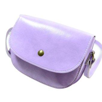 Retro Women Messenger Bags Chain Shoulder Bag Leather Crossbody Purple