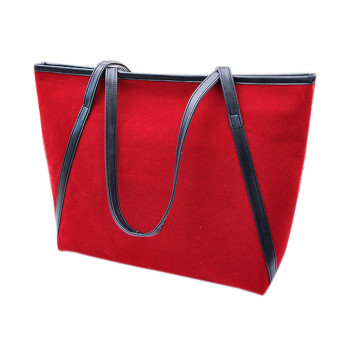 Simple Winter Larger Capacity Leather Suede Women Bag Messenger Red