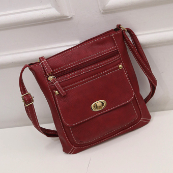 Moonar Fashion Women Vintage PU Leather Messenger Crossbody Bag Shoulder Bag (Red) - intl