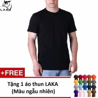 Áo thun nam LAKA (Đen) A10 + Tặng 1 áo thun LAKA cùng loại màu ngẫu nhiên