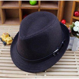 Child Kids Boys Girls Wool Blend Brim Flat Top Fedora Hat Winter Trilby Jazz Cap Coffee - intl