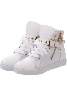 LALANG Women High Cut Sneakers Canvas Shoes White - intl